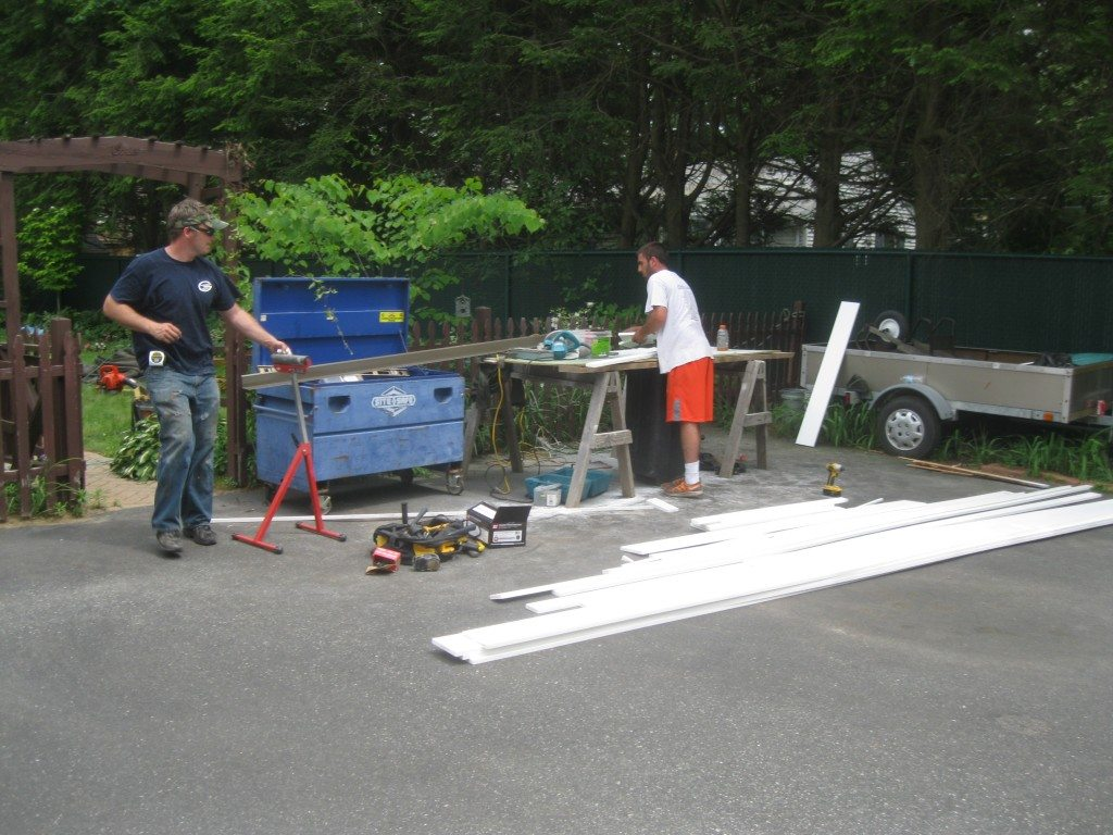 Preparing composite trim for replacing wood trim