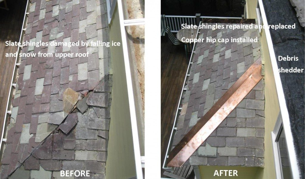 repairs to roof damage from winter ice and snow
