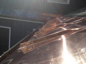 Copper panel roofing